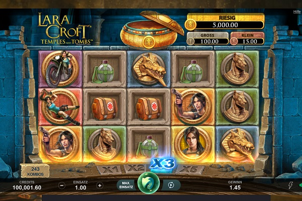 Lara Croft Temples and Tombs Online Slot Gameplay